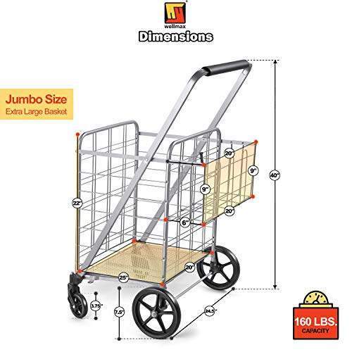 Wellmax Shopping Cart with Wheels, Metal Grocery Cart with Wheels, Shopping Carts For Groceries, Folding Cart For Convenient Storage And Holds Up To 160lbs, Dual Swivel Wheels and Extra Basket, Silver