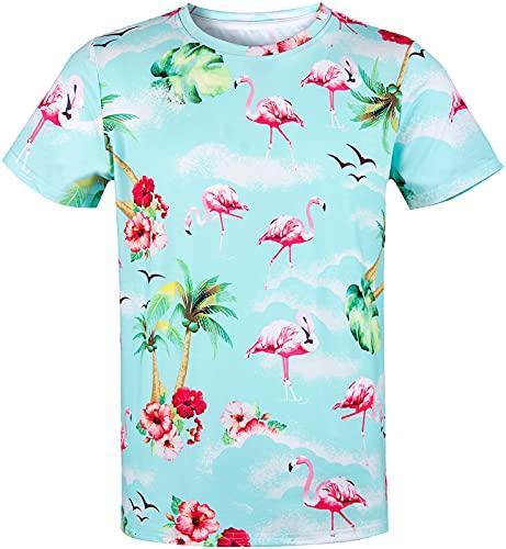 COSAVOROCK Camiseta Hawaiana de Manga Corta Casual para Hombre
