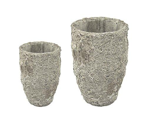 Pflanz-Gefäß Vase in Steinoptik 2 Stück - klein und groß
