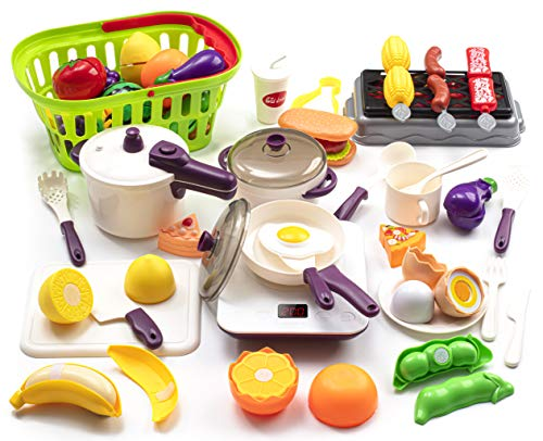 43PCS Kitchen Playset Pretend Toy ,Kids Kitchen Toy Pressure Pot and Electric Induction Cooktop Pan Cooking Set Toy with BBQ, Cutting Fruit, Shopping Basket ,Toy Cutlery for Kids Girls Boys Toddlers
