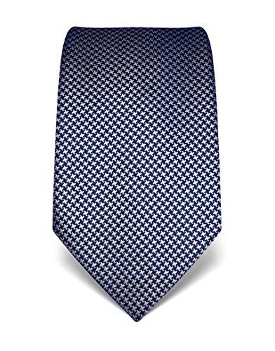 Vincenzo Boretti Herren Krawatte reine Seide Hahnentritt Muster edel Männer-Design zum Hemd mit Anzug für Business Hochzeit 8 cm schmal/breit dunkelblau/weiß