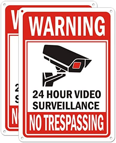 Video Surveillance Sign Outdoor Metal Indoor Security Camera Signs for Property Under 24 Hour product image