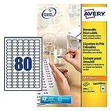Avery L3412REV-25 Etichette Rimovibili per Prezzi, 80 Pezzi per Foglio, 25 Fogli, 35.6 x 16.9