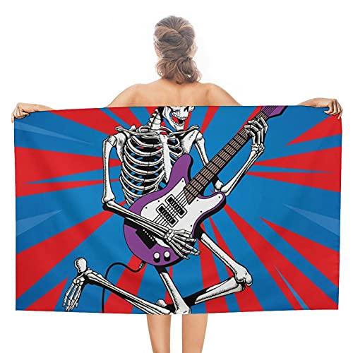 Toallas de playa grandes – Toalla de piscina mullida de 31 x 51 pulgadas, toalla de baño de verano, esqueleto Rock Guitar Player Jumps