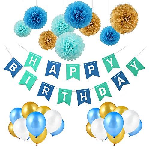 Deko Geburtstag , Geburtstag Dekoration Set,Pomisty Happy Birthday Dekoration 40 Stücks mit 9 Tissue Papier Pom Poms  30 Ballons und 1 Happy Birthday Banner für Mädchen und Jungen Alters