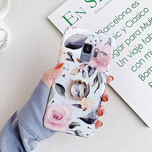 QPOLLY Kompatibel mit Samsung Galaxy S9 Hülle mit Glänzend Ring Ständer Bunt Blumen Muster Schutzhülle Ultra dünn Weiches TPU Silikon Stoßfest Handyhülle für Galaxy S9,Rosa