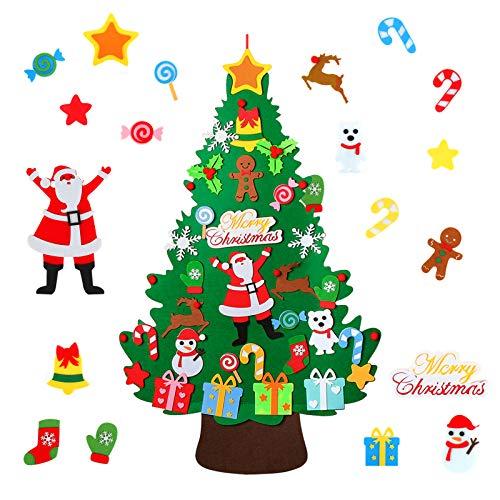 WOTEK Filz Weihnachtsbaum, 3.2ft DIY Weihnachtsbaum Mit 40 Pcs Ornamente Wand Dekor Filz Weihnachtsbaum für Kinder Weihnachten Geschenk DIY Weihnachten Set Hängend Dekor Home Tür Wand Dekoration