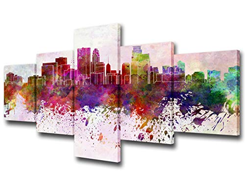 5 Piece Canvas Wall Art Minneapolis Skyline Painting American City Graffiti Landmarks Buildings Architecture Picture for Living Room Modern Home Decor Framed Stretched Ready to Hang(50Wx24H inches)