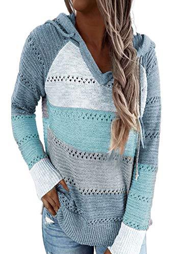 Hikaro Damen Color Block Himmelblau Hoodie Strickpullver Loose Langarm V-Ausschnitt Kordelzug Pullover Sweatshirts Weihnachten für Damen Mädchen Herbst Oberteile Large