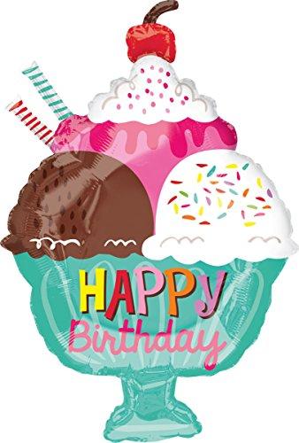 Amscan 3561701 Folienballon Junior Shape Happy Birthday Eisbecher