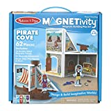 Melissa & Doug Magnetivity Magnetic Tiles Building Playset – Pirate Cove with Pirate Ship (62 Pieces, STEM Toy)