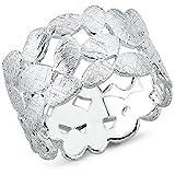 Vinani Ring Laub Blätter Kranz Design gebürstet massiv breit offen Sterling Silber 925 Blumenkranz Lorbeerkranz Größe 62 (19.7) 2RTX62