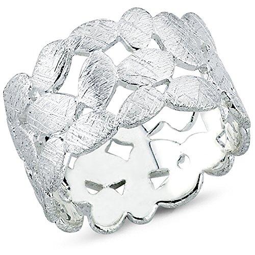 Vinani Ring Laub Blätter Kranz Design gebürstet massiv breit offen Sterling Silber 925 Blumenkranz Lorbeerkranz Größe 64 (20.4) 2RTX64