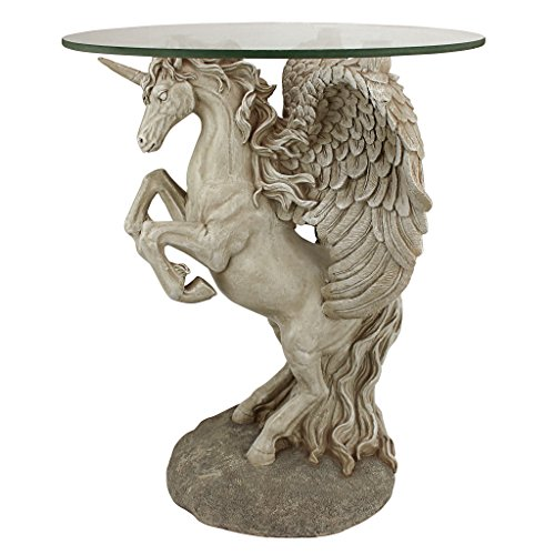 "Design Toscano EU31323 EU31323 Mystical Winged Unicorn Sculptural Glass-Topped Table, 16"" Dia.x21 H, Full Color"