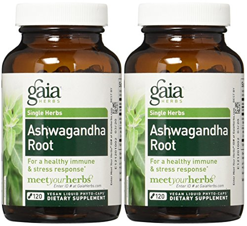 Gaia Herbs Ashwagandha Root Liquid Phyto Capsules, 120 Count (2 Bottles)