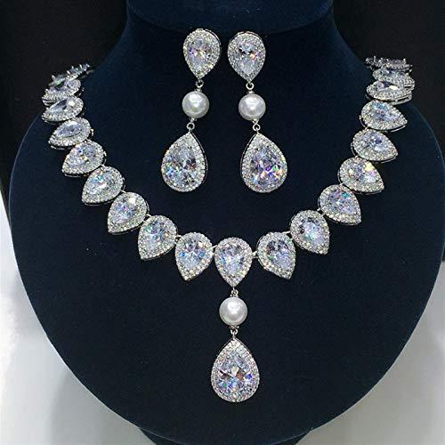 Shability Nuevo Corazón Transparente De Flecha Blanca con Forma Cuadrada CZ Crystal Pearl Joyery Set para El Conjunto De Pendientes De Collar De Boda yangain