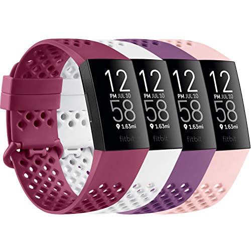 AK Kompatible Für Fitbit Charge 3 Armband/Fitbit Charge 4 Armband, Atmungsaktiv Sport Verstellbares Sport Ersatzarmband für Fitbit Charge 3/Charge 4/SE (L, 03 Weiß/Rosa/Wine Rot/Lila)