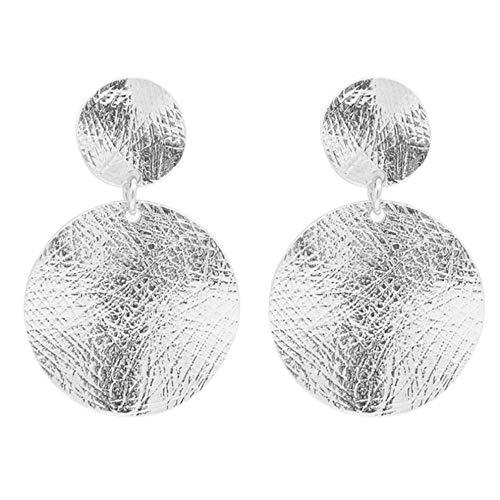 Pendientes de gota grandes Vintage chapados en color plateado Pendientes de metal con colgante redondo geométrico para mujer Joyería de declaración