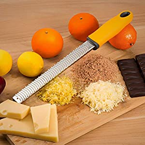 Lemon Zester, Cheese Grater Tool With 100% Stainless Steel Blade & Silicone Handle for Chocolate, Citrus, Garlic, Nutmeg… |