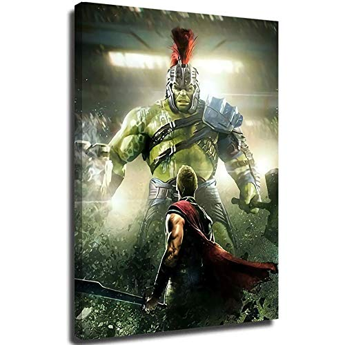Thor vs Hulk Battle Wall Art Colorful Abstract Abstract Painting Still Life Canvas Wall Art for Home Decor 18'x24'