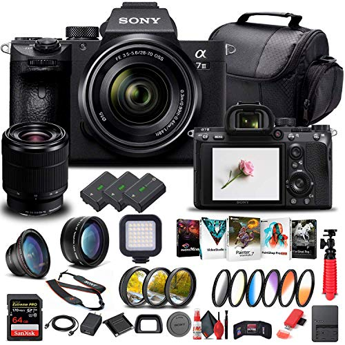 Sony Alpha a7 III Mirrorless Digital Camera with 28-70mm Lens (ILCE7M3K B) + 64GB Memory Card + 2 x NP-FZ-100 Battery + Corel Photo Software + Case + External Charger + Card Reader + More (Renewed)