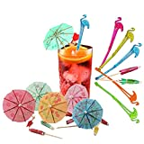 Cocktail Accessories,Mixnon 48 Pieces Flamingo Cocktail Stirrers Swizzle Sticks Paper Umbrella Picks,for Drinks Wedding Summer Party Music Bar Food Drink Decorations Multicolored-Disposable Items
