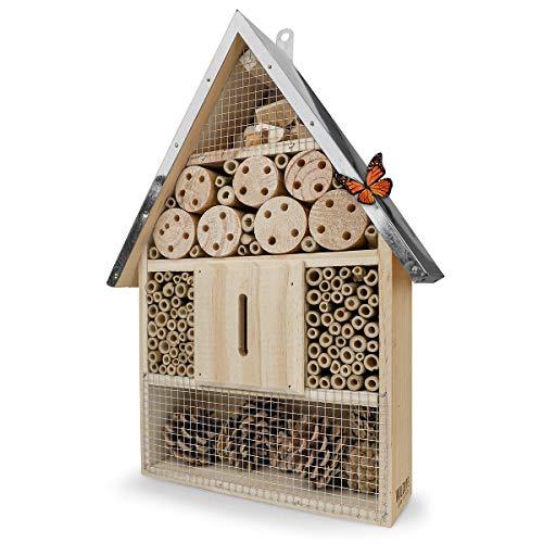 Wildlife Friend | Insektenhotel mit Zink-Dach - unbehandelt, Insektenhaus aus Naturholz für Bienen, Marienkäfer, Florfliegen & Schmetterlinge, Bienenhotel & Nisthilfe zum aufhängen, 40cm