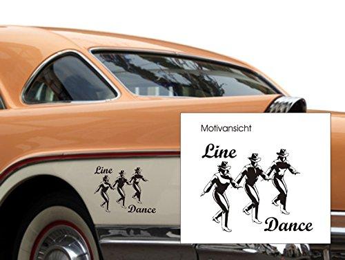 KFZ-Aufkleber, Autoaufkleber - Line Dance - Dance, Tanzen, Musik, music (M070 Schwarz, 130 mm x 100 mm)