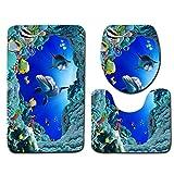 Chennie 3 unids/Set Ocean Style Underwater World Dolphin Carpe Inodoro 3D Dolphin Print Baño Alfombra Set