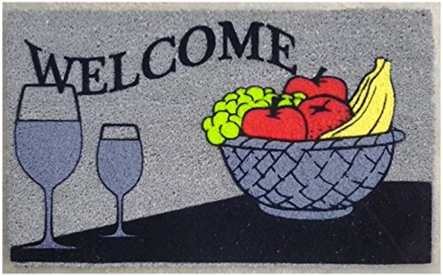 Imports Decor 543PVCF Welcome Wine Vinyl Backed Coir Doormat with Flocked Pattern, 30 x 18