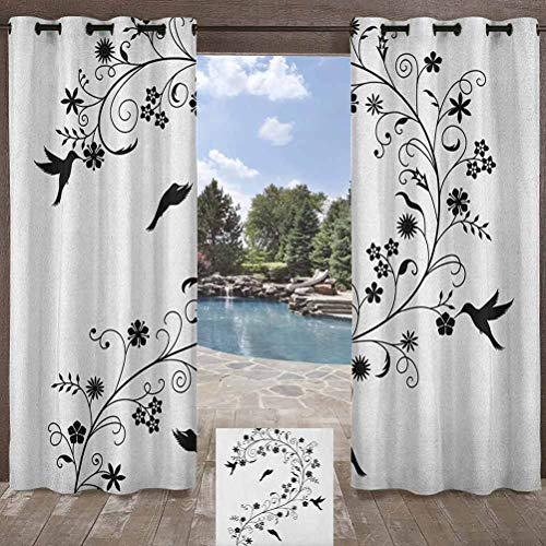 ParadiseDecor Black and White Indoor/Outdoor for Pergola/Sunroom Victorian Curves Swirls with Bird Silhouettes Monochrome Flora and Fauna Black White 108W x 84L Inch