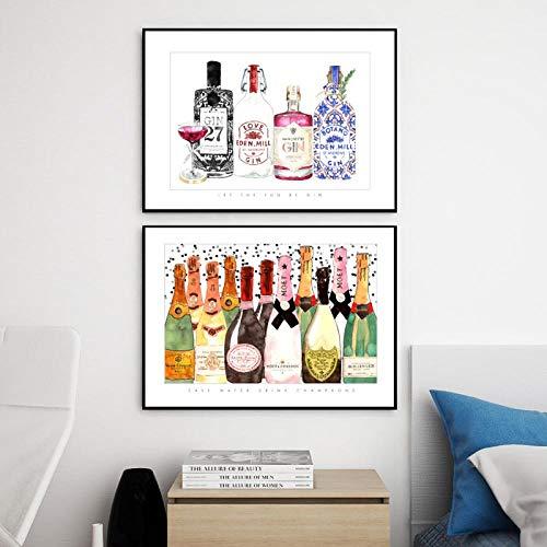 Terilizi Wohnkultur Prints Schilderij Scandinavische stijl champagne fles foto's Wandkunst Modular Canvas Poster Modern voor nacht achtergrond 30X40Cmx2 geen lijst