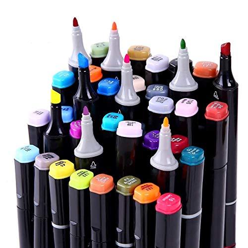 40/60/80 Marker Pens verdoppelt spitzt Marker Stifte für Kunst Sketch Twin färbig Highlighters mit Tragetasche für Malerei Coloring Hervorhebungen und Unterstreichungen (40 Set schwarz)