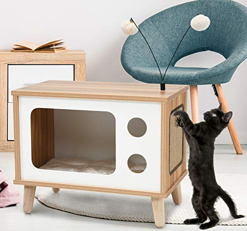 COSTWAY Casa para gatos de madera, condominio de gatos en forma de TV con tabla de arañar, cojín extraíble y bolas de juguete, cama anidada para interior