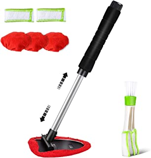 Topmart Windshield Cleaner,Windshield Cleaning Tool with Extendable Handle and Air Vent Duster for Car Interior Exterior,Car Glass Cleaner Kit with Washable Reusable Microfiber Cloth