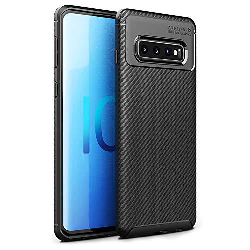 NALIA Hülle kompatibel mit Samsung Galaxy S10 Plus, Carbon Look Ultra-Slim Handyhülle Silikon Case Cover, Dünnes Skin Phone Schutzhülle Etui Handy-Tasche Backcover Smartphone Bumper - Schwarz
