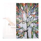 Relaxdays Duschvorhang mit Baum Motiv, Aquarell, Anti-Schimmel, waschbar, Badewannenvorhang H x B 200 x 180 cm, bunt