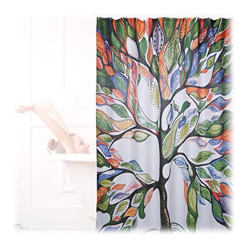 Relaxdays Cortina Baño Lavable con Estampado de Árbol, Poliéster, Multicolor, 200 x 180 cm