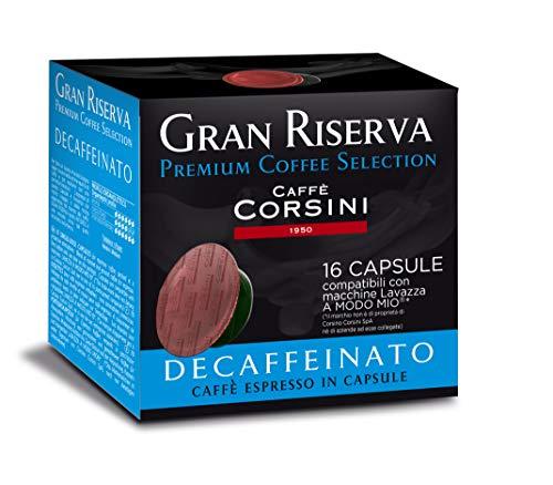 Caffè Corsini Gran Riserva Decaffeinato Miscela di Caffè Espresso in Capsule Compatibili Lavazza a Modo Mio - Pacco da 6 x da 16 capsule