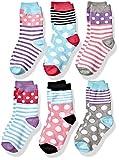 Jefferies Socks Mädchen Dots/Stripes Fashion Cotton Crew 6 Pair Pack Socken, Multi, XS (6er