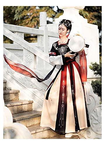 YUNGYE Disfraz de hada para mujer, color rojo, chino, tradicional, bordado, elegante, antiguo Hanfu, princesa Tang Dynasty (color: 3M hemline, tamaño: XL)