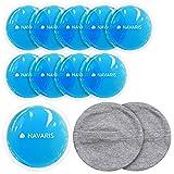 Navaris Set de 10 compresas de gel - Almohadillas para calor frío reutilizables - Bolsas para el alivio de dolor migraña lactancia hinchazón