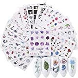 iFancer Nail Stickers Water Transfer Nail Art Decals for Women Girl Fingernail Toenail Tattoo Decoration Blossom Flower Flamingo Red Rose Pattern Nail Art Supplies (Watercolor Flowers Series)