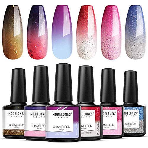 Modelones Mood Gel Nail Polish - Color Changing Gel Nail Polish Set- Red Glitter Gel Polish- Soak Off Gel Nail Polish Manicure- 6 Colors 0.33 OZ 10 ML with Gift Box for Nail Art DIY at Home