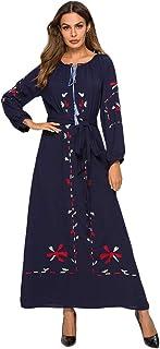 cutemom Muslim Women Dress Long Sleeve fashion retro Geometric print round neck large swing Kaftan Dresses Traditional Women Abaya Dubai Islamic Robe Clothes