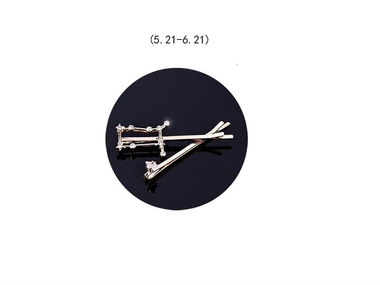 関連付けるねばねば文明Osize 美しいスタイル 12コンステレーションダイヤモンドジュエリーサイドクリップヘアピンヘアクリップセット(ジェミニ)
