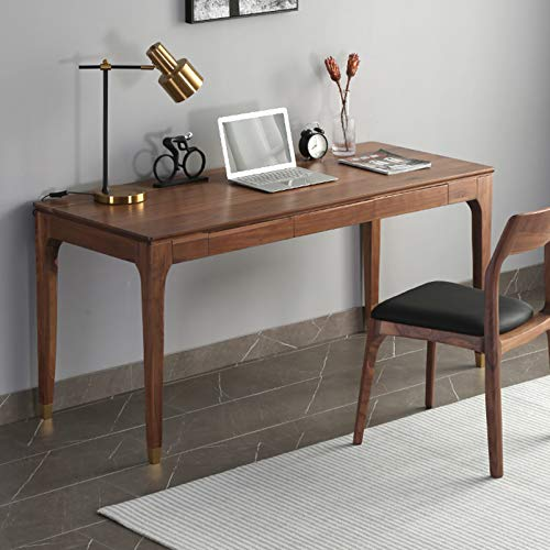 Escritorio de Escritorio de Madera Maciza para computadora en casa, Mesa de Estudio de Madera Maciza con Banco de Trabajo Simple con cajones, Escritorio de Estudio pequeño apartamento Escritorio