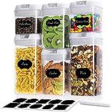 Wimaha Juego de recipientes herméticos de plástico, 6 unidades, con tapa y etiqueta reutilizable, vaso medidor para cereales, harina, azúcar (6 unidades)
