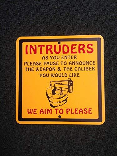 HONGXIN Intruders We Aim to Please Metal Signs Decoración de la Pared Vintage Hogar Accesorios Accesorios de Bar Accesorios Hogar Accesorios Accesorios de Cocina Para Hogar Hombre De La Cueva Signos