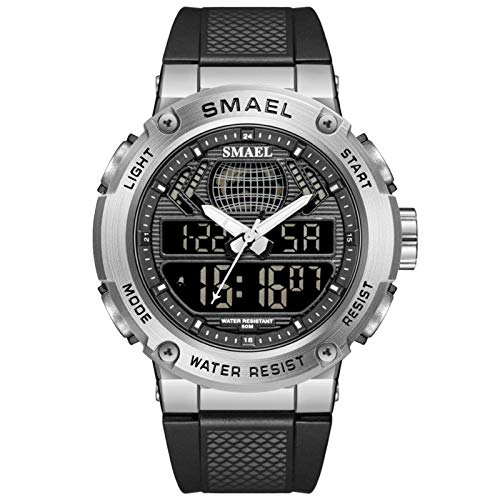 JTTM Hombre Relojes, Al Aire Libre Deportes Multifuncional Analógico Y Digital Deporte Relojes LED Relojes De Pulsera Men Watches,Silvery